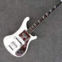 White 4003 Electric guitar ,Big Red Flower Guardplate,4 strings bass guitarFree Shipping