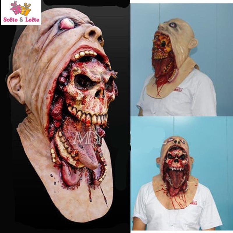 Livraison Gratuite Effrayant Zombie Mal Masque Jouet En Caoutchouc Souple Halloween parti Costume Robe Faire up Pourriture Sanglante D'horreur Prank Blague cadeaux