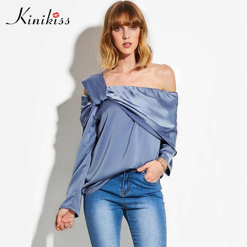2cce49b5978d6a Kinikiss Women Elegant Silk Satin Blouse Shirts Blue Off Shoulder Fold Two  Side Wear Blouse Tops