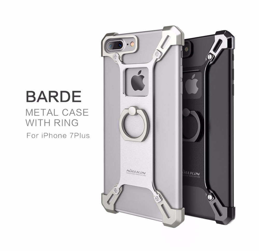 for iPhone 7 Plus Nillkin Barde Metal Cover Case with Ring Luxury Space Aluminium Metal Cases