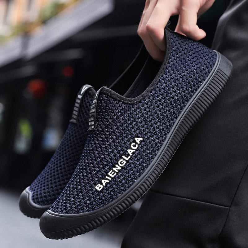 บินทอรองเท้าสบายๆผู้ชายรองเท้าผ้าใบ 2019 ใหม่แฟชั่นสบายๆรองเท้าผ้าใบผู้ชาย breathable ตาข่ายรองเท้าชาย