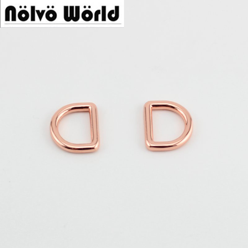 50pcs Rose gold inside 19X15mm 3/4 inch diy bags metal accessory alloy round welded d ring for sewing parts metal ring holder for smartphones rose gold