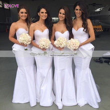 Sexy Sleeveless Sweetheart Bridesmaid Dress Ruched Mermaid Bridesmaid Dress Wedding Gowns vestido de dama de honor (SL-B51)