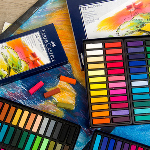 Image 3 - Faber Castell Pastel Stick 12/24/36/48/72 Colors Dyed Chalk Wax Colors Blue Box Oil Pastel Crayon Soft Pastel Blando For Art