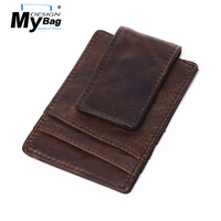 DESIGN MYBAG Vintage Cow Leather Cash Clips Men Casual Money Clip Magnetic Slim Money Bag Cash Wallets Multifunction