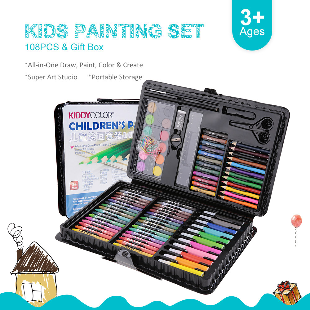 108pcs Art Drawing Kit Kids Painting Set Pencils Crayons