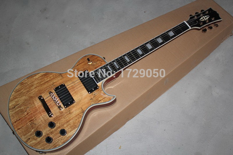 2017 Chinese Factory Custom New! L Custom Electric Guitar, Body with Spalted Maple Top, Light Burst, High Quality 930