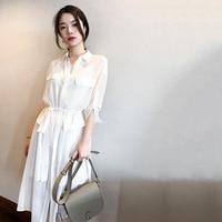 Sincerely agent shirt dress female 2018 summer gold senior feeling chiffon long commute temperament