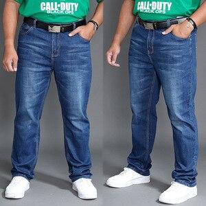 Image 2 - Klasyczne jeansy męskie wiosna długie spodnie Plus rozmiar 44 46 48 wysoka talia elastyczne lekkie letnie spodnie jeansowe Smart Casual Jean