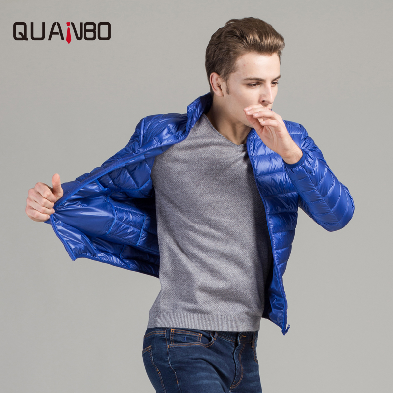 QUANBO Brand Clothing 2018 New Autumn Winter Men 90% White Duck   Down     Coat   Men's Fashion Ultra Light   Down   Jacket 7 Color park 4XL