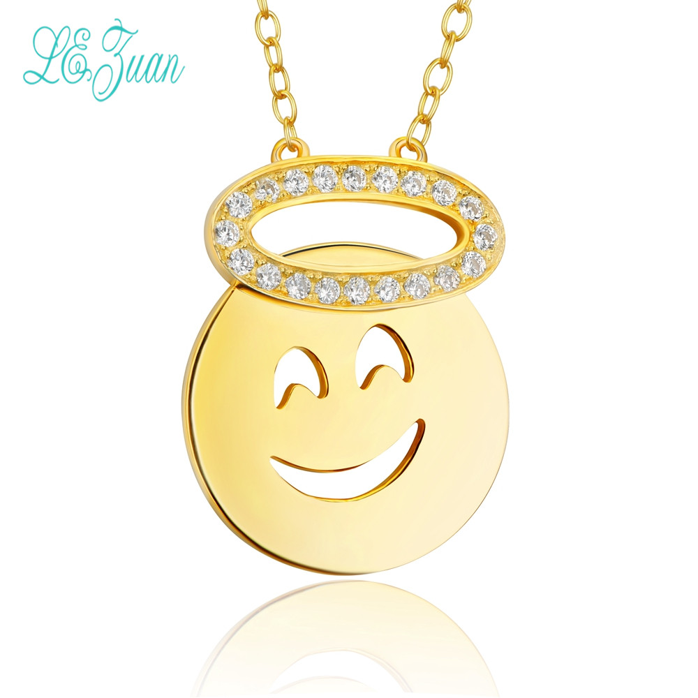 l&zuan S925 Fashion Sterling Silver Jewelry The Smiling Face Expression Pack Zircon Pendant Necklace For Women Christmas Gifts