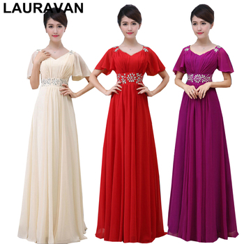 champagne deep purple red adult birthday women bride floor length capped chiffon dress with cap sleeves wedding guest 2020