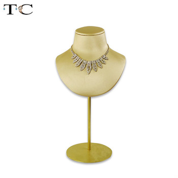 2019 Newest Gold PU Leather  Display Stand for Jewelry Necklace Bust Pendant Holder Mannequin