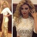 Myriam Fares Vestidos de Oro Vestidos de Noche de Dubai Fashion Bordado de la Media Manga Formal Arabia Saudita Enviar por Aramex