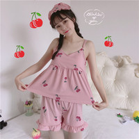 Summer Kawaii Women Crop Top Korean Super Cute Cherry Print Three Piece Harness Pajamas Vadim Home