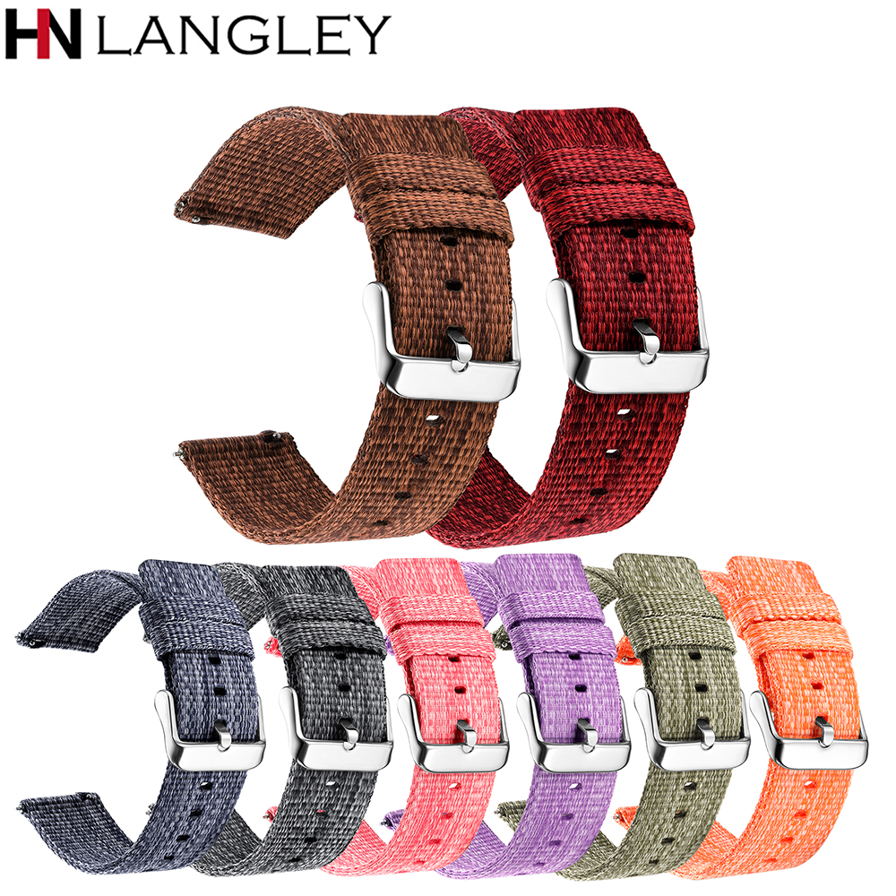18/20/22/24 Mm Width Quick Release Watch Band General Common Use Fine Woven Nylon Watch Bands Strap
