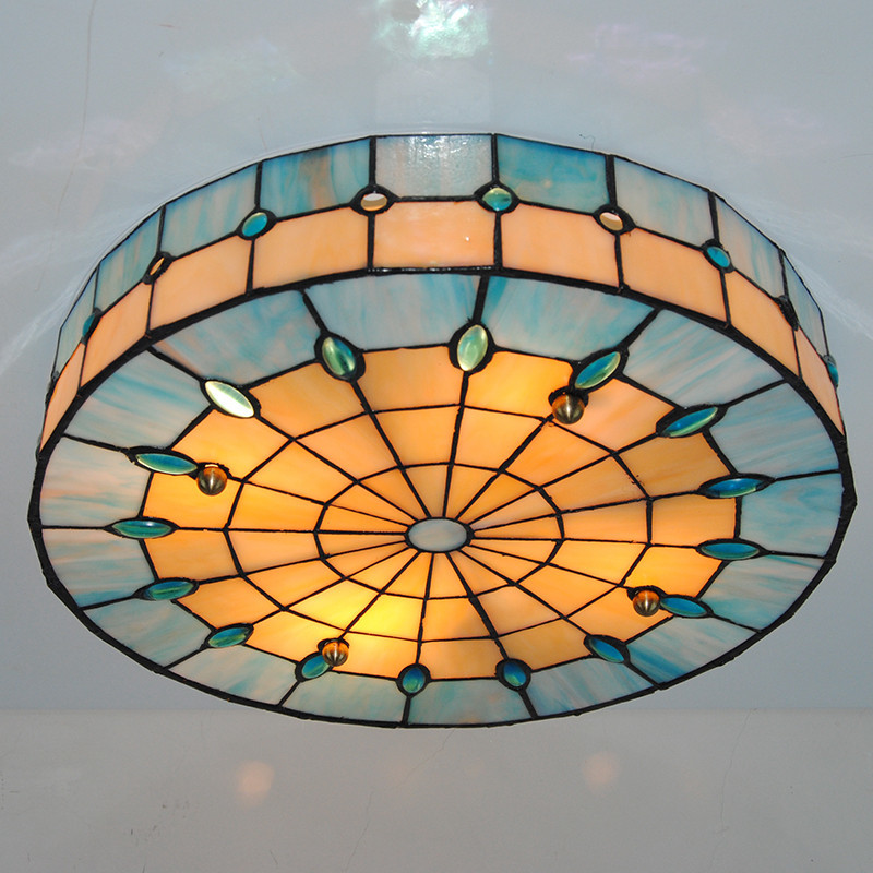 Modern Tiffany Style 3 Lamps Drum Ceiling Light Vinage Simple Stained Gl Flush Mount Lamp Fixtures For Cafe Restaurant Cl261 In Lights From