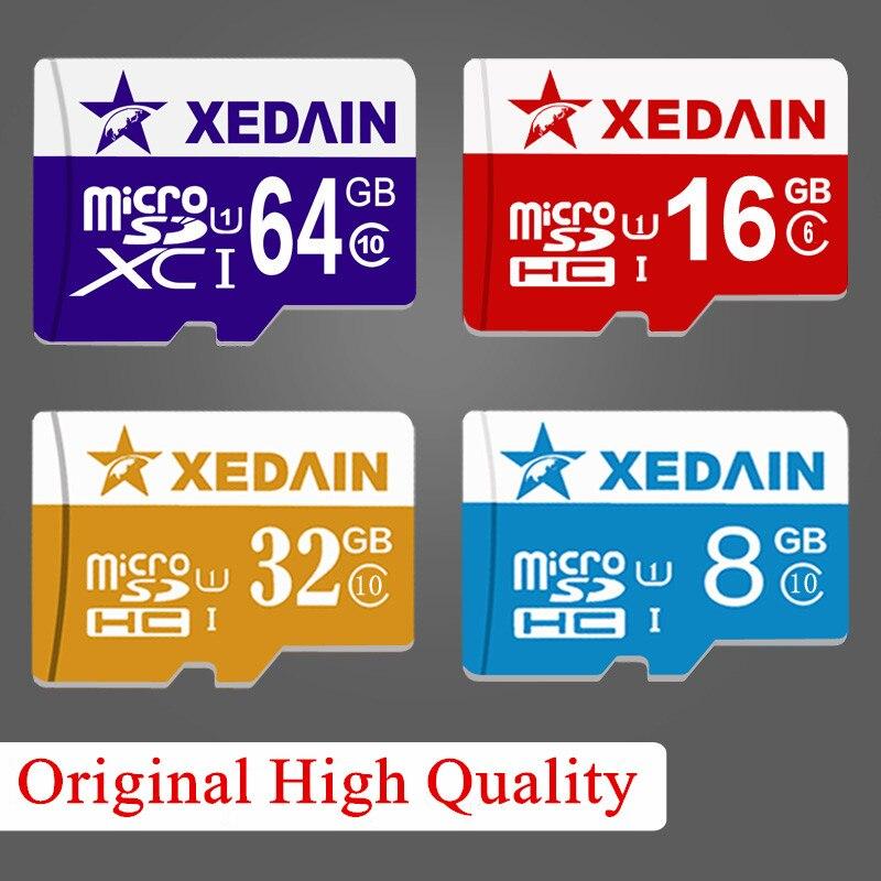 Настоящее Ёмкость micro sd 8 ГБ 16 ГБ 32 ГБ 64 ГБ Class 10 xedain бренд карты памяти мини tf карты для Планшеты Камера Pad телефоны высокое Скорость