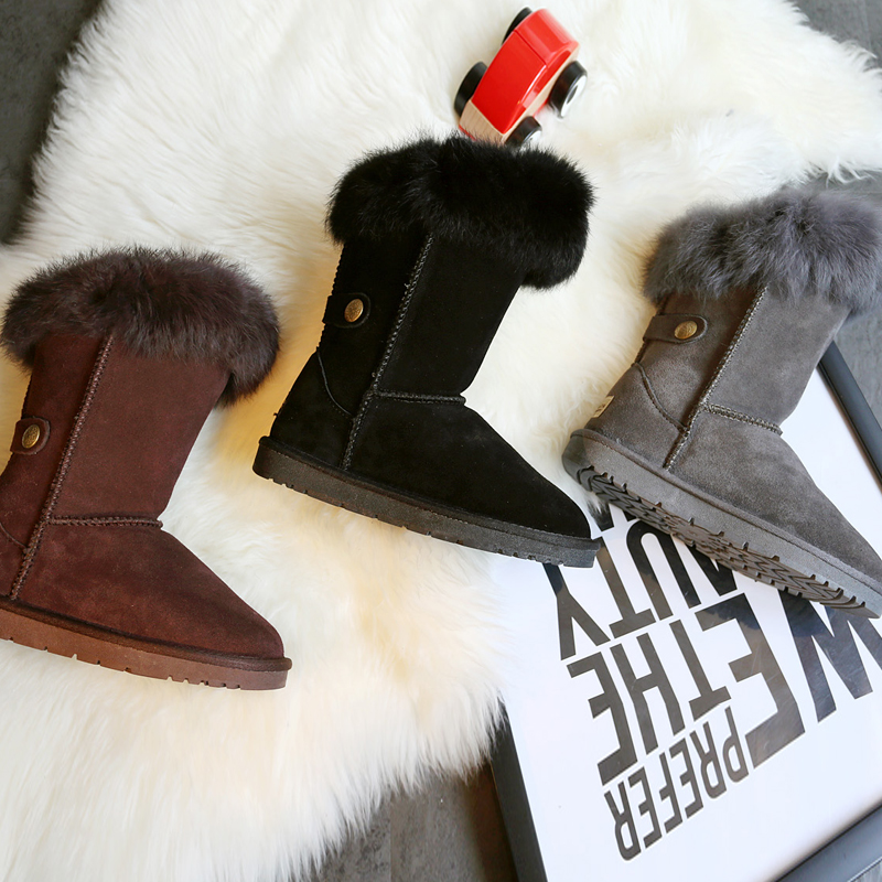 ФОТО 2016 new snow boots women's leather non-slip warm cotton shoes rabbit fur leather jackboots