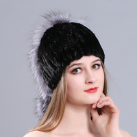 MIARA.L new lady mink hat fashion silver fox fur winter fashion warm and thick fur hat manufacturers for whole sale