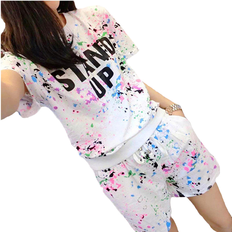 2018 New Summer Women's Sets Short Sleeve Printed T Shirt + Shorts Sweat Suits Women Tracksuits Camouflage Suit Two Piece Sets