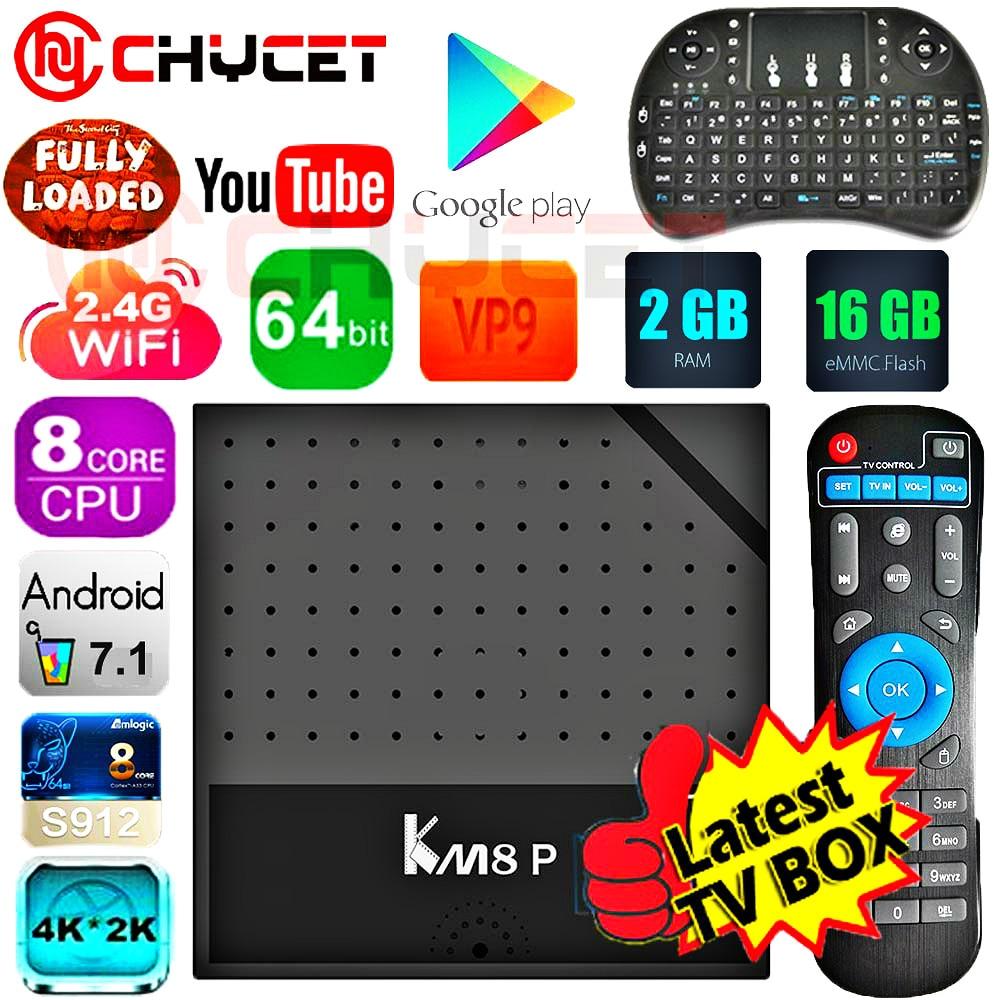 KM8P Android 7.1 TV Box Amlogic S912 64bit Octa Core 2 GB 16 GB H.265 UHD 4 K TV