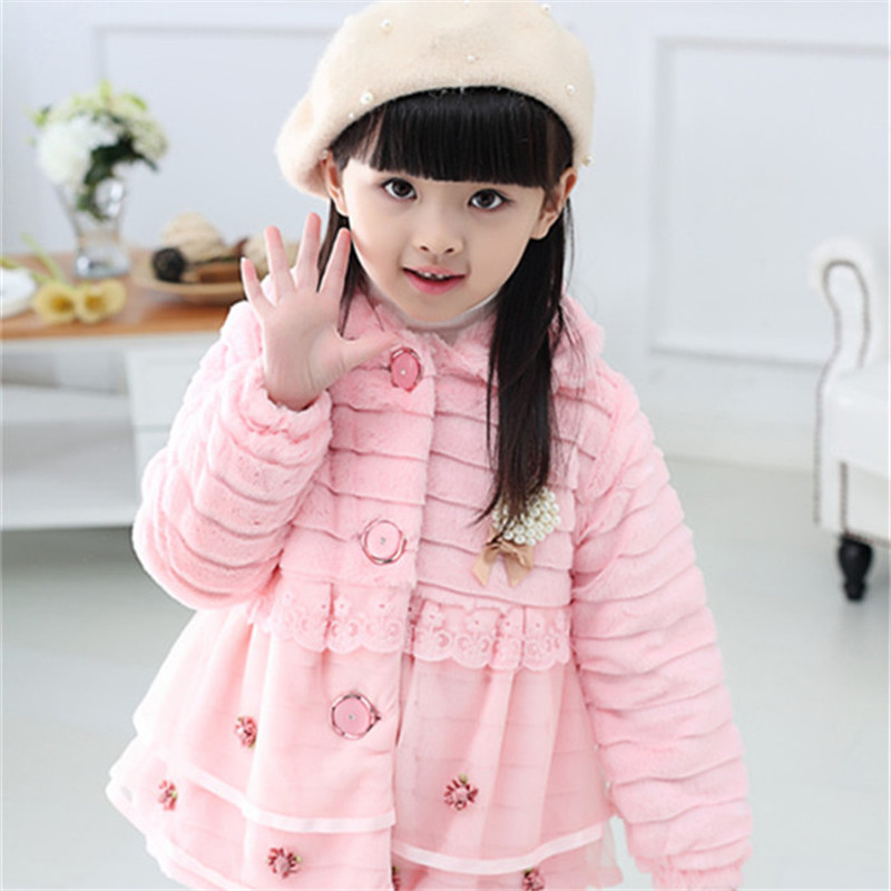 Image 2 - Girls Fur Coat Clothing With Pearl Lace Flower Autumn Winter Wear Clothes Baby Children Faux Fur Dress Dresses Style Jacket 2017-in Jackets & Coats from Mother & Kids
