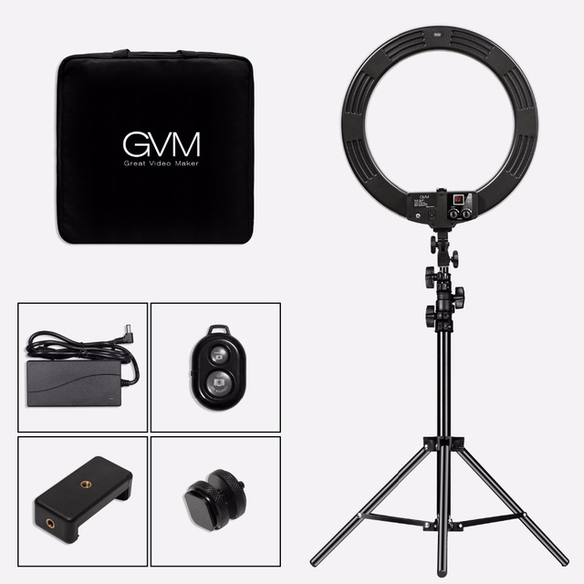 GVM Bi-color Dimmable LED Diva Ring Light With Tripod 55W CRI95 256 LED Photography Ring Lamp for Makeup Light Studio