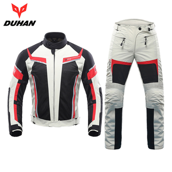 DUHAN Men Motorcycle Jacket + Motorcycle Pants Set Spring Summer Breathable Mesh Jacket Moto Pants Suit Clothing Protective Gear duhan summer motorcycle jacket men breathable mesh riding moto jacket motorcycle body armor protector moto cross clothing