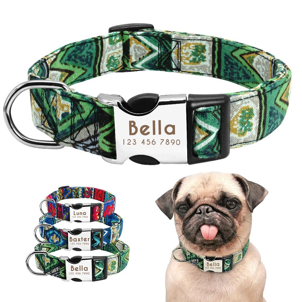 HTB1KQR9bozrK1RjSspmq6AOdFXaW - Halsband hond met naam en telefoonnummer nylon ruige patronen