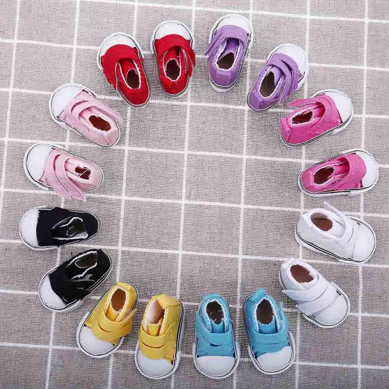 5cm-7.5cm Doll Shoes Denim Sneakers For Dolls Fashion Denim Canvas Mini Toy Shoes 1/6 For Handmade Doll