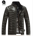 2015 New styles Haining Leather Clothes, mens standing collar sheep skin Down leather jacket, Brand Slim Winter Fur coat, M-3XL