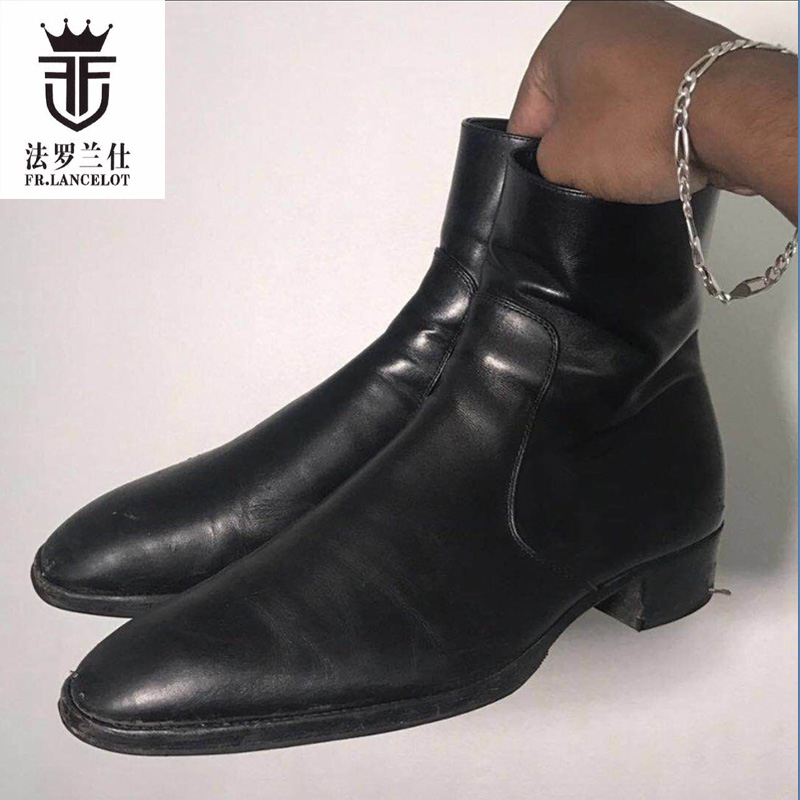 2019 FR LANCELOT chelsea boots Black cow Real leather men riding botas low heel motorcycle boot