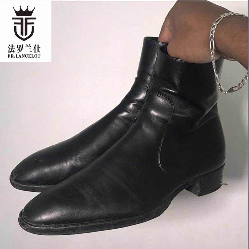 98f7c509d5dd5 2019 FR.LANCELOT chelsea boots Black cow Real leather men riding botas low  heel motorcycle
