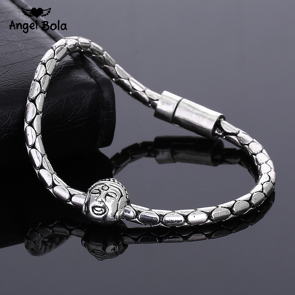 10PCS/LOT New Buddha Bracelet Ancient Silver Bracelet for Statement Women Jewelry Party Gift with Buddha Head Drop Shipping