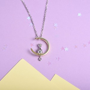 Image 2 - U7 100% 925 Sterling Silver Cat/Kitten Sit on Moon Pendant & Chain Valentines Day Gift For Women Animal Jewelry Necklace SC37