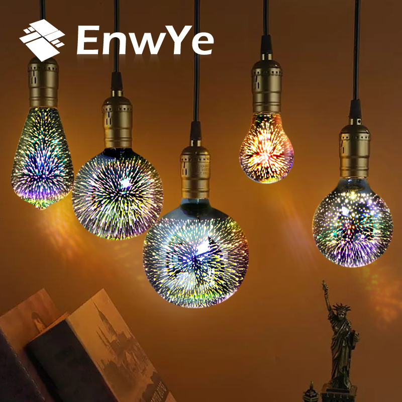 EnwYe E27 LED Lamp Light Bulb 3D Decoration Bulb 110-240V Holiday Lights A60 ST64 G80 G95 G125 Novelty Lamp Christmas Decoration