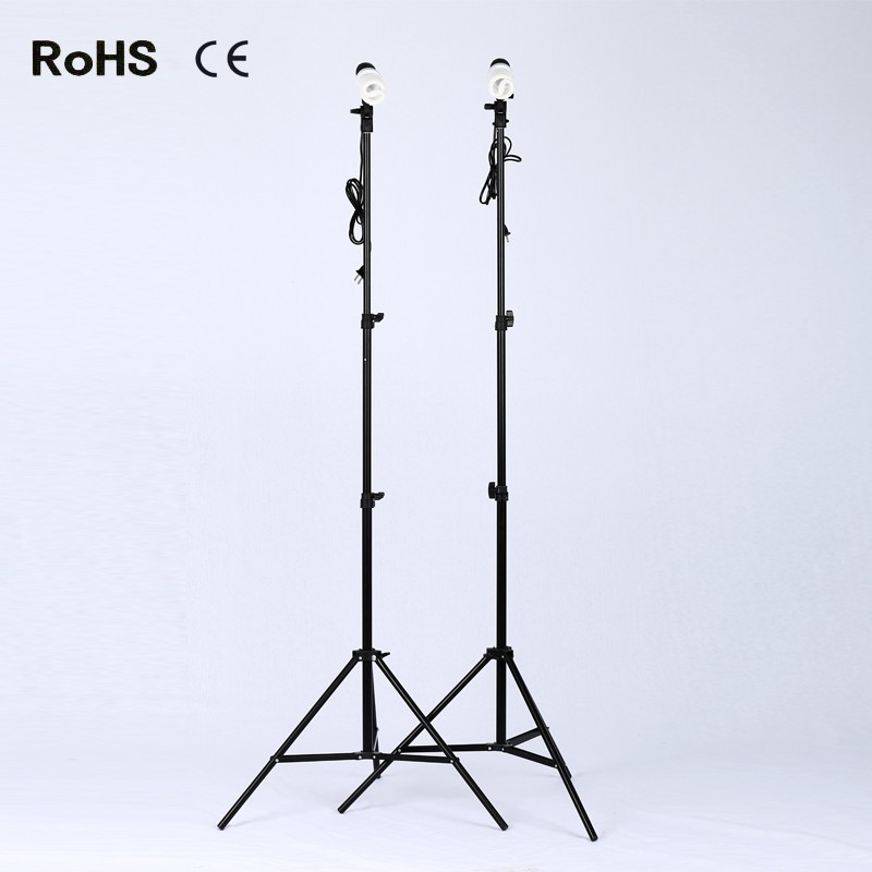 Photography Studio Set:2*E27 single lamp horlder socket&2*45W photography lights&2*2m light stand