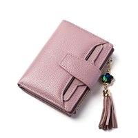 Fashion Lichee Pattern Genuine Leather Women Wallet Mutis Pockets Short Size Folds Wallet Tassel Decoration Women