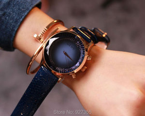Image 5 - 9 Colors Hot Luxury Watches Women Large Dial Wristwatches Genuine Leather  Lady Dress Watch Women Rhinestone Watch Fashion Hours