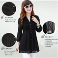 Europe 2016 hot sell latest summer fashion women clothing collar pure color long sleeve cardigan loose big yards T-shirt  D-1110