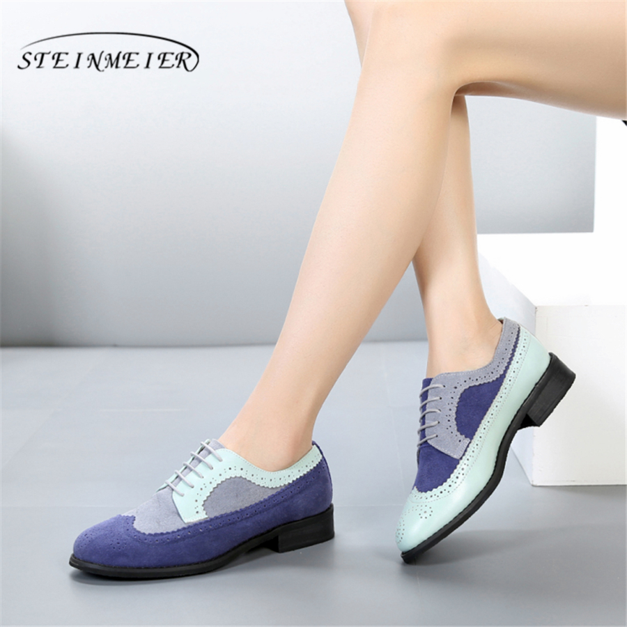 100% Genuine cow leather casual designer vintage lady flats shoes handmade oxford shoes for women blue grey black red with fur