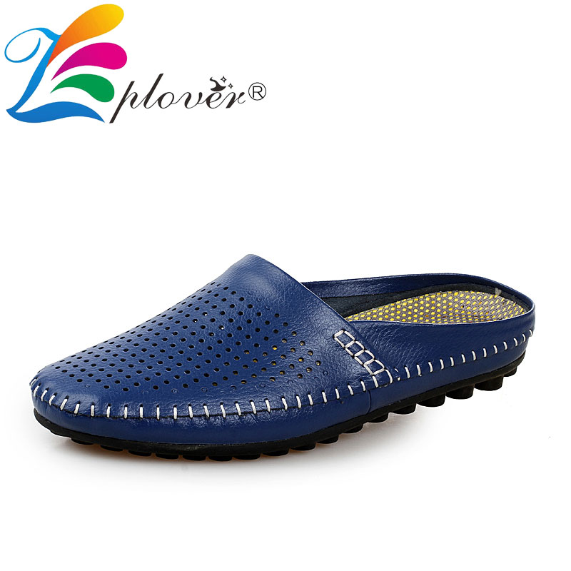 Summer Men Slippers 2018 New Hollow Out Breathable Beach Sandals Shoes Men Casual Large Size Leather Flats Flip Flops Shoes italian classic mens summer gladiator beach sandals ankle buckle weave hollow out cow real leather shoes large size casual shoes