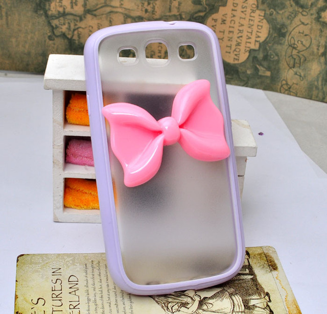 Frosted soft edge mobile phone case for Samsung galaxy  Note 2 N7100 protective cover with resin bow [JCZL DIY Shop]
