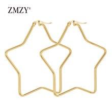 ZMZY Big Star Shaped Earrings Simplicity Wire Stainless Steel for Women Brincos de gota Feminino Geometric Jewelry Gift
