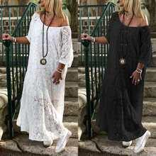 ZANZEA Women Lace Crochet Maxi Long Dress Summer O Neck 3/4 Sleeve Party Vestido Robe Femme Bohemian Sundress Casual Loose Dress 3 4 sleeve crochet flare dress