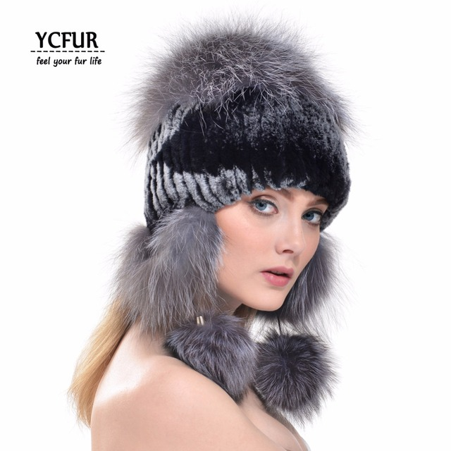 YCFUR Fashion Women Earmuffs Hats Winter 2016 Natural Rex Rabbit Fur Beanies With Fox Fur Trims Bomber Hats For Women YH190