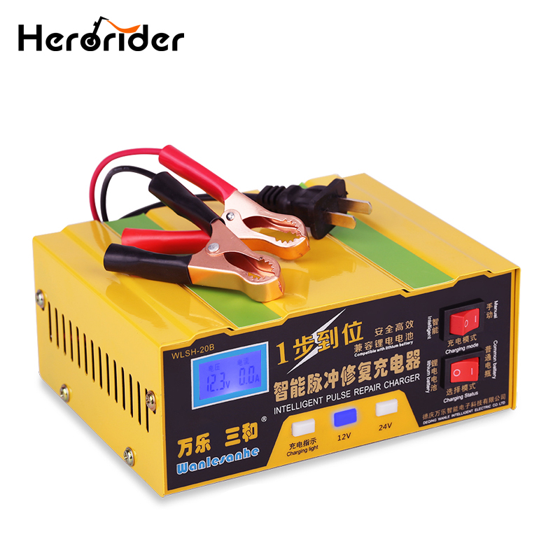 pulse repair type automatic intelligent digital display heat radiator control 220v 6v 12v 120ah car battery charger energy save 110v/220v To 12V 24V Charger For Car Battery Intelligent Full Automatic Car Motorcycle Scooter Battery Charger Pulse Repair Type