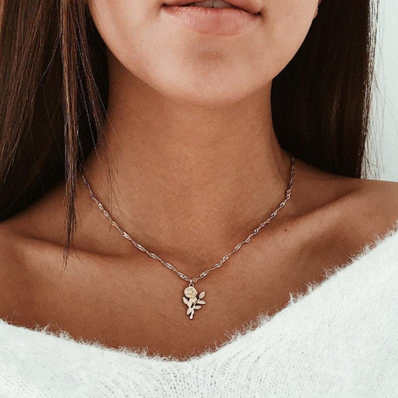 Модное женское ожерелье из сплава, s& Кулоны, колье, ожерелье золотого цвета с кристаллами, ожерелье для женщин, подарок - Окраска металла: x180jinse