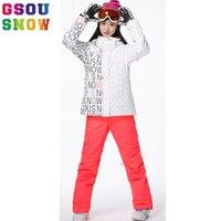 GSOU SNOW Brand лыжный костюм Женская лыжная куртка брюки для девочек непромокаемые женские лыжный куртка для сноубординга Зима Открытый Спортив